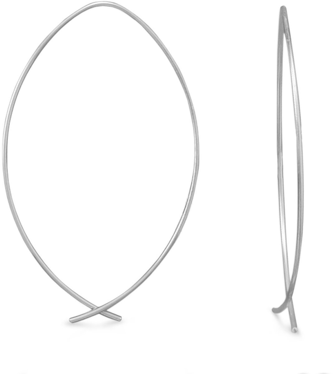 Marquise Wire Earrings 925 Sterling Silver