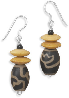 Porcelain and Wood Disk Earrings 925 Sterling Silver