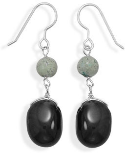 Turquoise and Black Onyx Earrings 925 Sterling Silver