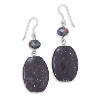 Purple Jasper and Chinese Crystal Earrings 925 Sterling Silver- DISCONTINUED