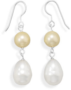 Yellow and White Shell Base Pearl Earrings 925 Sterling Silver