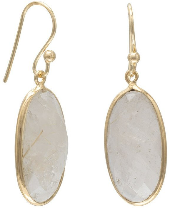14 Karat Gold Plated Rutilated Quartz Earrings 925 Sterling Silver