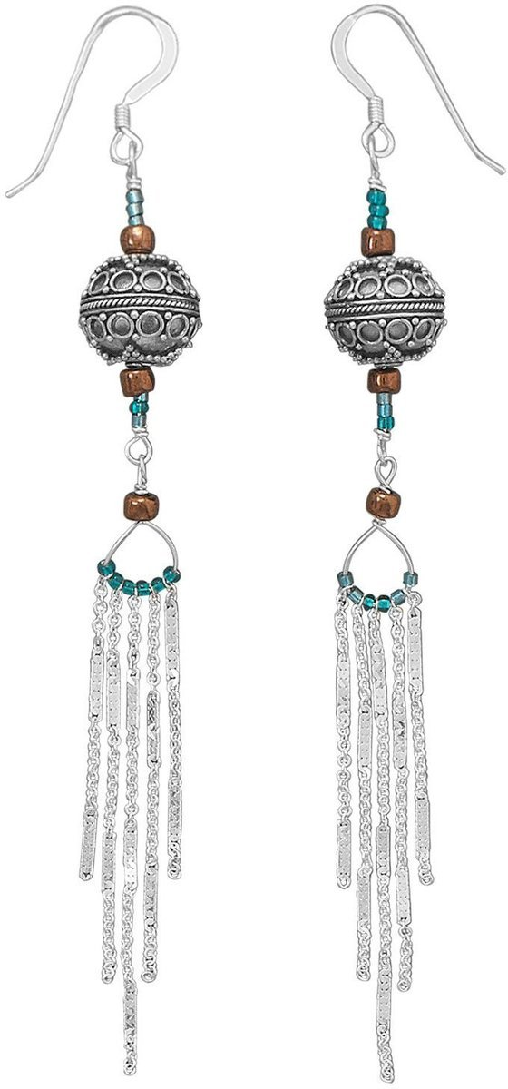"5"" Chain Drop Earrings with Bali and Glass Beads 925 Sterling Silver"