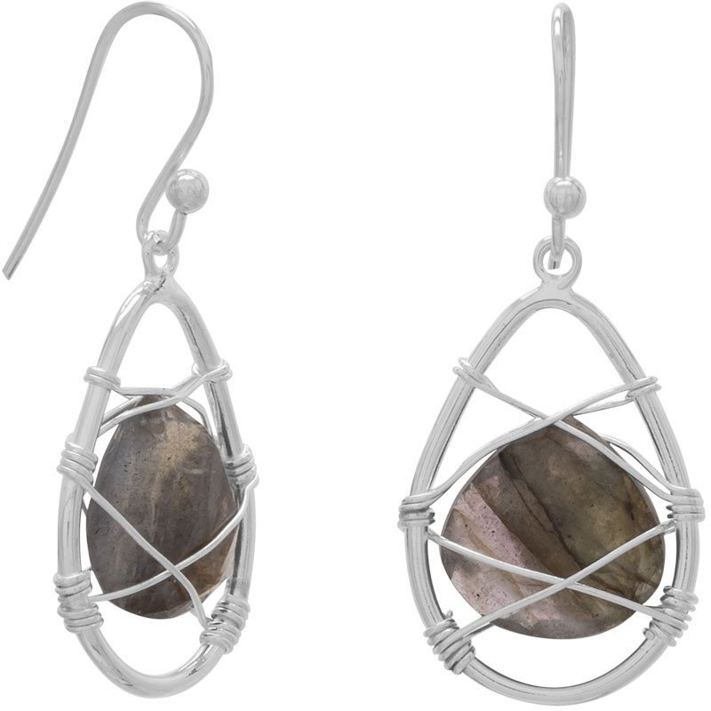 Wire Wrap Labradorite Earrings 925 Sterling Silver