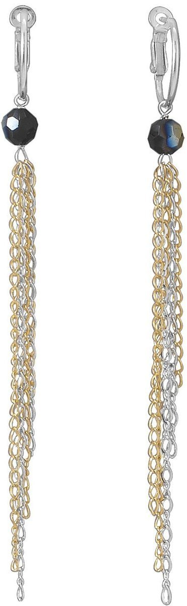 Two Tone Chain Drop Hoop Earrings 925 Sterling Silver
