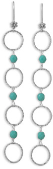 Turquoise Bead Long Drop Earrings 925 Sterling Silver