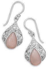 Ornate Pink Opal Earrings 925 Sterling Silver