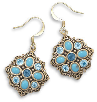 Bronze Earrings with Blue Topaz and Turquoise