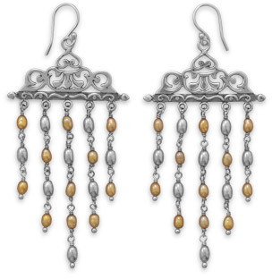 Ornate Cultured Freshwater Pearl Earrings 925 Sterling Silver