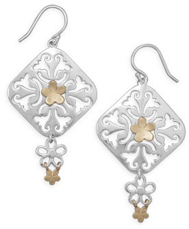 Flower Design Drop Earrings 925 Sterling Silver