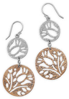 Silver and Copper Disc Earrings 925 Sterling Silver