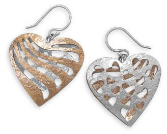 Two Tone Reversible Heart Earrings 925 Sterling Silver