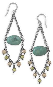 Turquoise and Cultured Freshwater Pearl Earrings 925 Sterling Silver