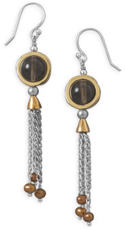 Tri Tone Smoky Quartz Earrings 925 Sterling Silver