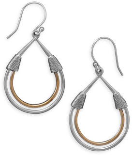 Two Tone Pear Shape Earrings 925 Sterling Silver