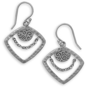 Diamond Shape Matte Finish Earrings 925 Sterling Silver