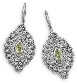 Oxidized Peridot Wire Earrings 925 Sterling Silver