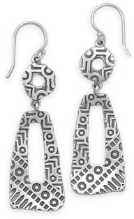 Oxidized Multishape Drop Earrings 925 Sterling Silver