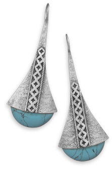 Textured Turquoise Earrings 925 Sterling Silver