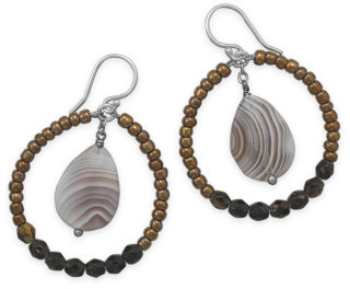 Botswana Agate and Glass Bead Drop Earrings 925 Sterling Silver