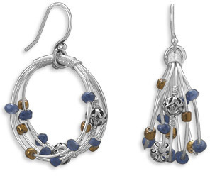 Sodalite and Glass Earrings 925 Sterling Silver