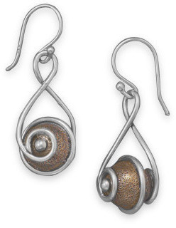 Copper Bead Drop Earrings 925 Sterling Silver