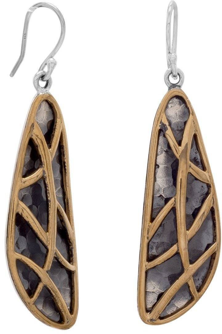 Two Tone Abstract Earrings 925 Sterling Silver