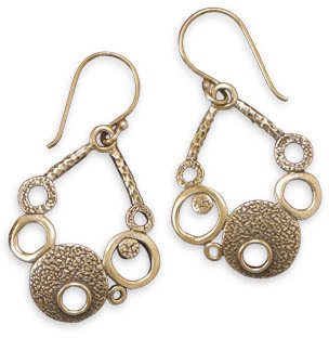 Oxidized Bronze Circle Design Earrings