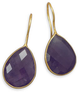14 Karat Gold Plated Amethyst Earrings 925 Sterling Silver