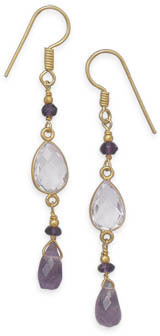 14 Karat Gold Plated Amethyst Drop Earrings 925 Sterling Silver