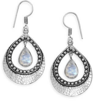 Hammered Pear Shape Earrings with Moonstone Drop 925 Sterling Silver - DISCONTINUED