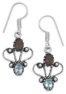 Oxidized Garnet and Blue Topaz Earrings 925 Sterling Silver