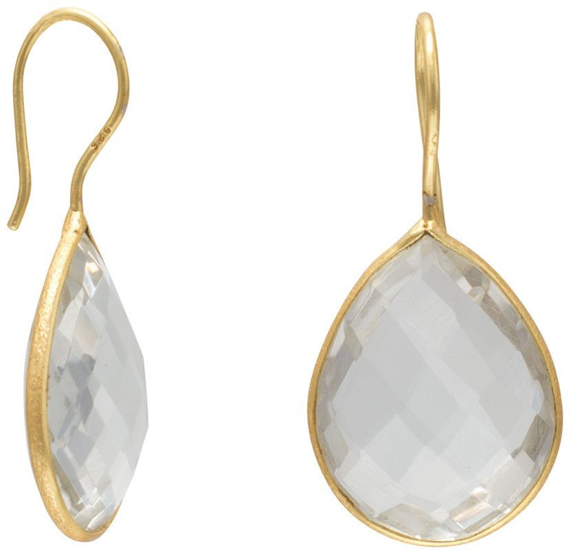 14 Karat Gold Plated Clear Quartz Earrings 925 Sterling Silver