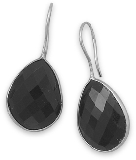 Faceted Black Onyx Earrings 925 Sterling Silver
