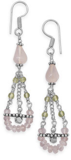 Rose Quartz and Peridot Earrings 925 Sterling Silver