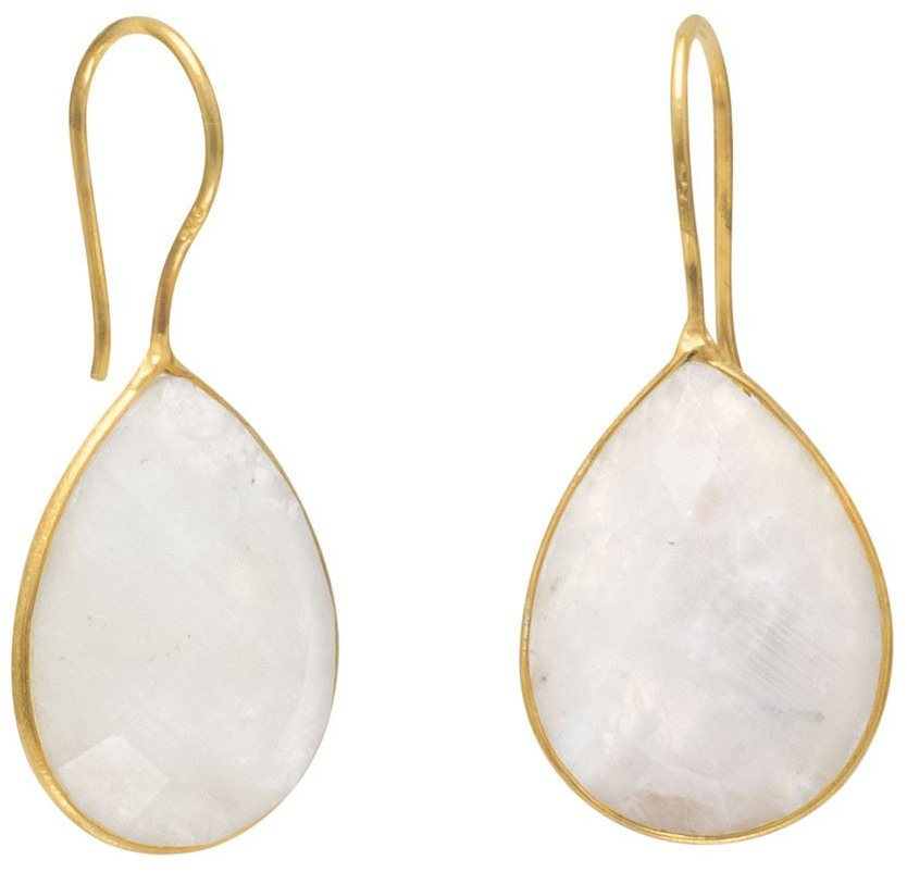 14 Karat Gold Plated Rainbow Moonstone Earrings 925 Sterling Silver