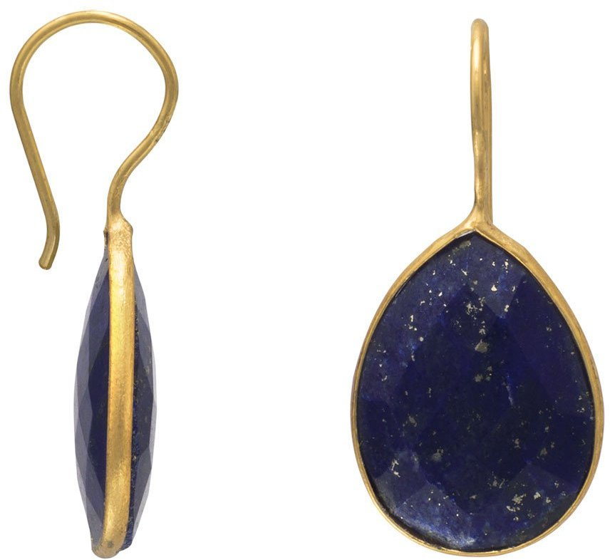 14 Karat Gold Plated Lapis Earrings 925 Sterling Silver