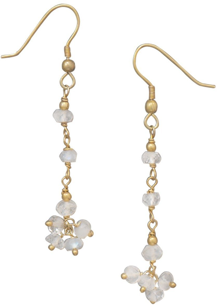 14 Karat Gold Plated Rainbow Moonstone Drop Earrings 925 Sterling Silver