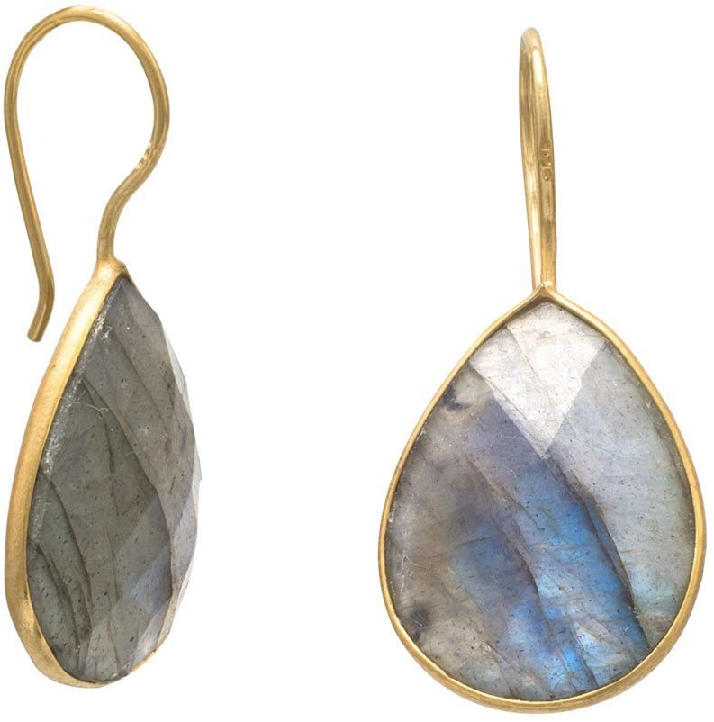 14 Karat Gold Plated Labradorite Earrings 925 Sterling Silver