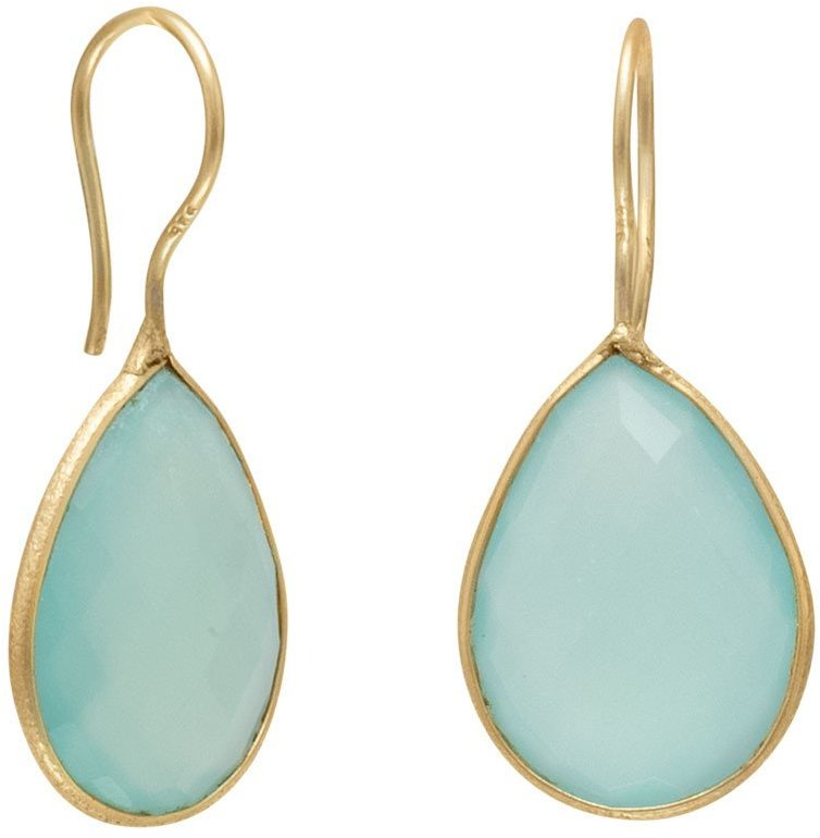 14 Karat Gold Plated Sea Green Chalcedony Earrings 925 Sterling Silver