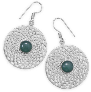 Green Agate Earrings 925 Sterling Silver