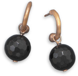 14 Karat Rose Gold Plated Black Onyx Earrings 925 Sterling Silver