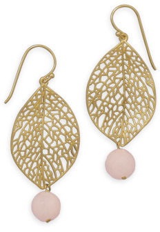 14 Karat Gold Plated Leaf Earrings with Aventurine 925 Sterling Silver