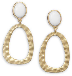 14 Karat Gold Plated and White Agate Earrings 925 Sterling Silver