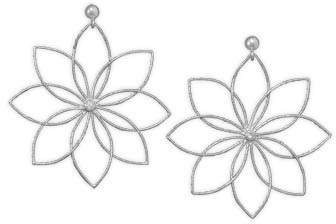 Rhodium Plated Flower Earrings 925 Sterling Silver