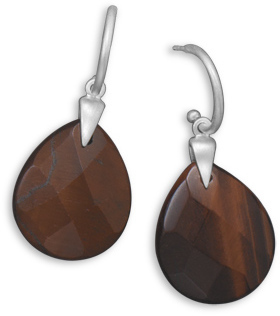 Red Tigers Eye Earrings 925 Sterling Silver