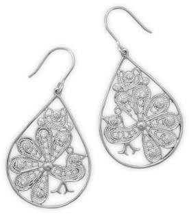 Rhodium Plated Peacock Design Earrings 925 Sterling Silver