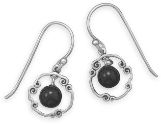 Oxidized Open Circle Earrings with Black Bead 925 Sterling Silver