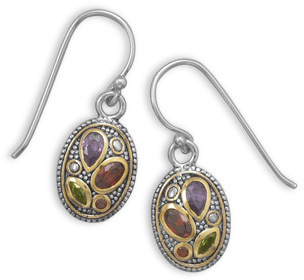 Two Tone Multicolor CZ Earrings 925 Sterling Silver