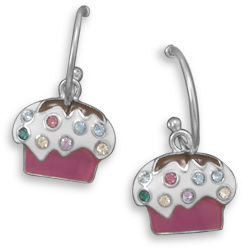 Rhodium Plated 1/2 Hoop Earrings with Cupcake Charm 925 Sterling Silver